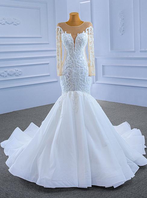 White Mermaid Tulle Long Sleeve Beading Wedding Dress