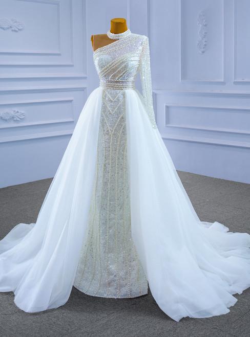 White Mermaid Seuqins Long Sleeve Pearls Wedding Dress