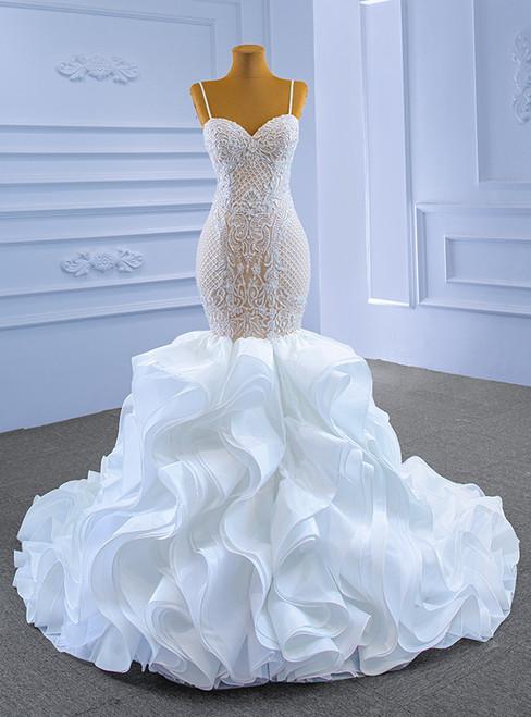 White Mermaid Organza Appliques Beading Wedding Dress