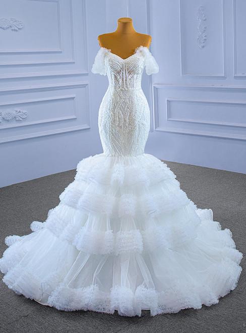 White Mermaid Tulle Sweetheart Appliques Beading Wedding Dress