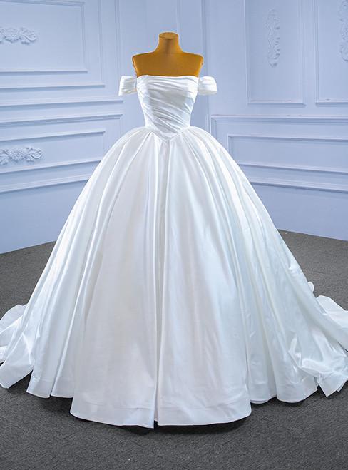 White Satin Off the Shoulder Pleats Wedding Dress