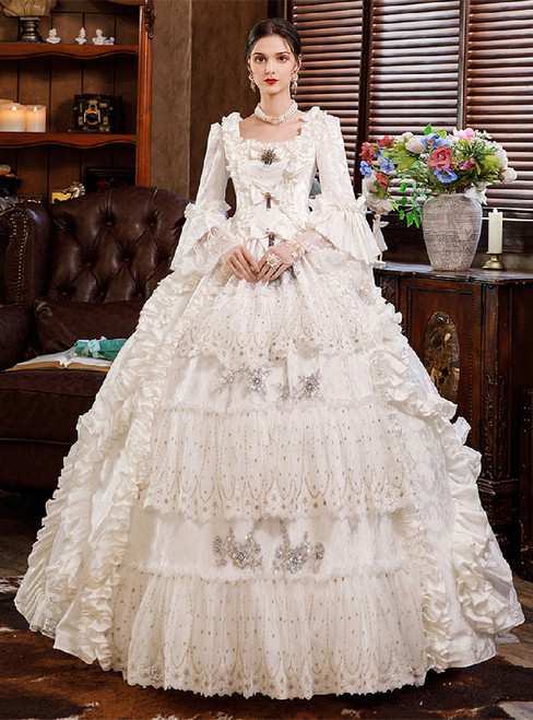 White Ball Gown Square Victorian Vintage Dress
