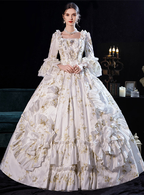 White Ball Gown Square Long Sleeve Bow Rococo Baroque Dress
