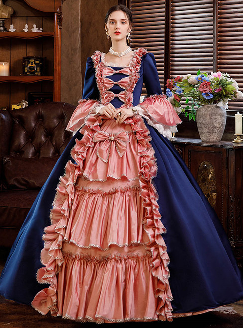 Navy Blue Pink Satin Ruffles Bow Baroque Antonietta Dress
