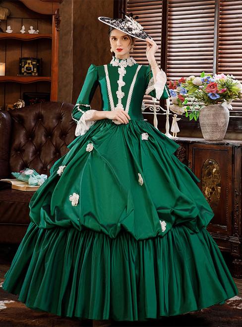 Green Satin Long Sleeve Appliques Rococo Baroque Dress