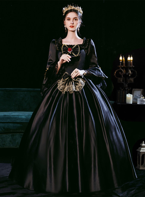 Black Satin Square Long Sleeve Bow Rococo Baroque Dress