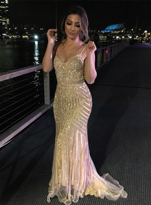 Sparkly Mermaid Long Evening Dresses with Spaghetti Straps