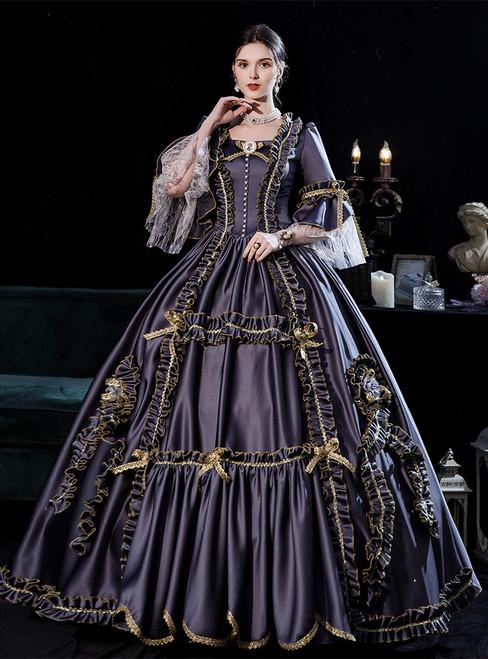 Gray Satin Square Long Sleeve Baroque Victorian Dress