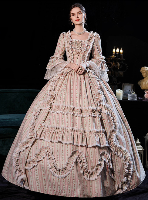 Pink Print Long Sleeve Square Rococo Baroque Dress