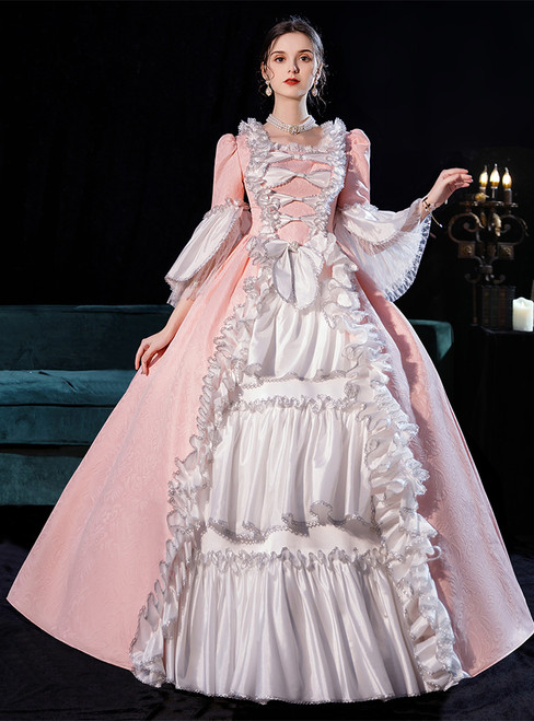 Pink White Satin Bow Long Sleeve Baroque Victorian Dress