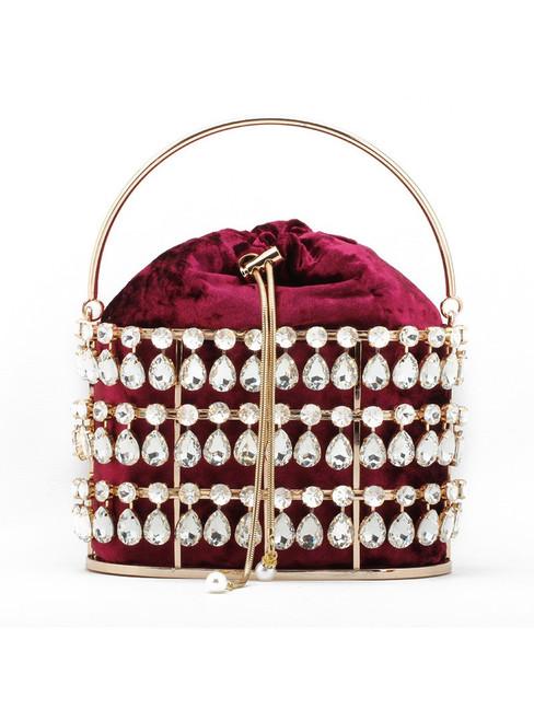 Women Diamond Metal Basket Dinner Bag