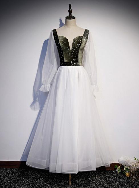 White Tulle Green Velvet Long Sleeve Square Prom Dress