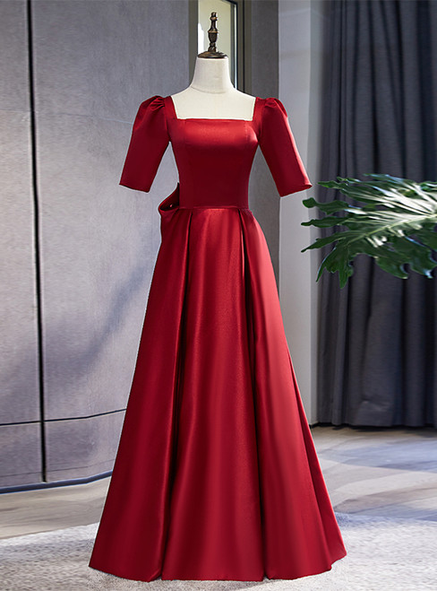 Burgundy Satin Square Short Sleeve Prom Dress With Bow