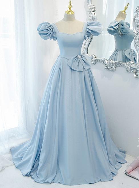 Blue Satin Puff Sleeve Square Prom Dress