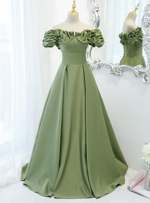 Avocado Green Satin Off the Shoulder Prom Dress