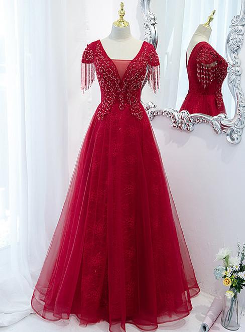 Burgundy Tulle V-neck Cap Sleve Beading Prom Dress