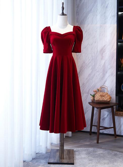 Burgundy Square Short Sleeve Tea Length Prom Dress