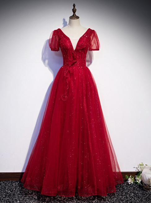 Burgundy Tulle Short Sleeve V-neck Beading Prom Dress