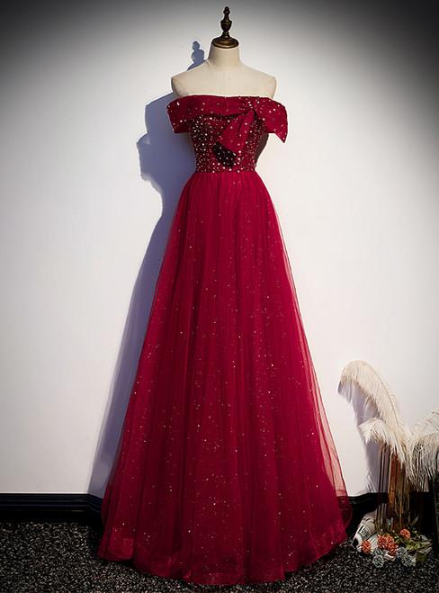Burgundy Tulle Seuqins Beading Off the Shoulder Prom Dress