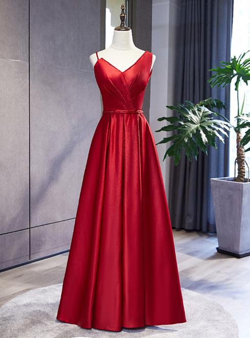 Burgundy Satin Dissymmetry Neck Beading Prom Dress