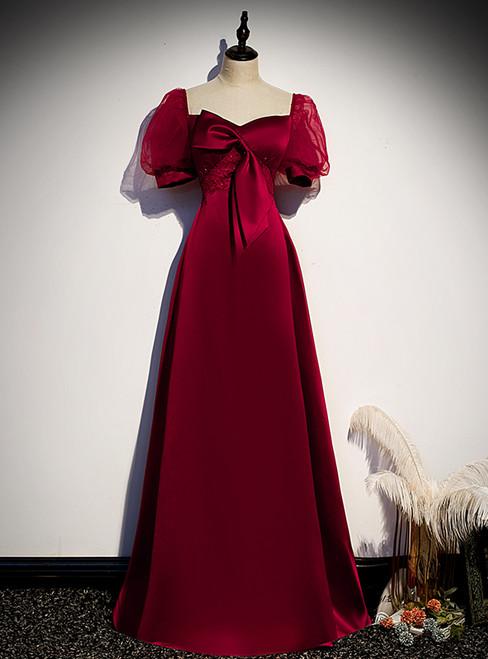 Burgundy Satin Puff Sleeve Beading Bow Prom Dress