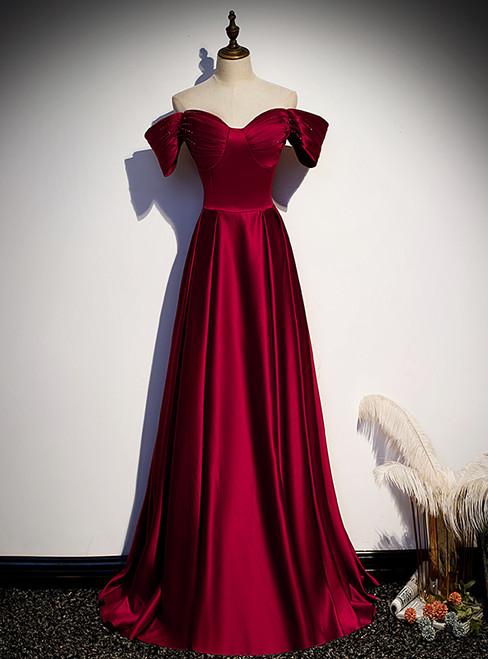 Simple Burgundy Satin Off the Shoulder Beading Prom Dress