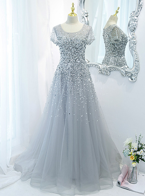 Silver Gray Tulle Beading Sequins Prom Dress