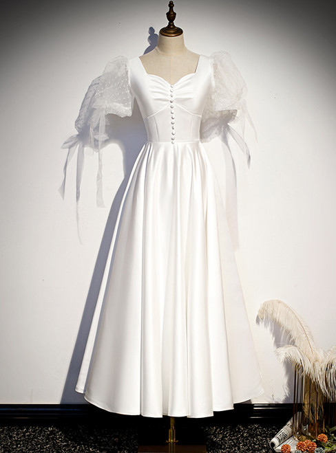 White Satin Square Short Sleeve Button Prom Dress
