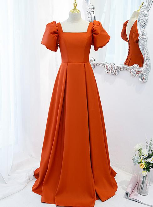 Orange Satin Short Sleeve Square Prom Dress