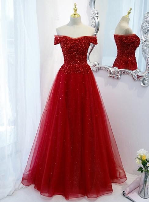 Burgundy Tulle Beading Sequins Off the Shoulder Prom Dress