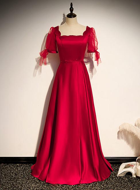 Burgundy Satin Short Sleeve Beading Prom Dress
