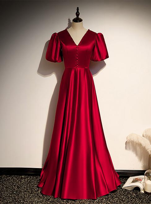 Burgundy Satin V-neck Puff Sleeve Backless Prom Dress