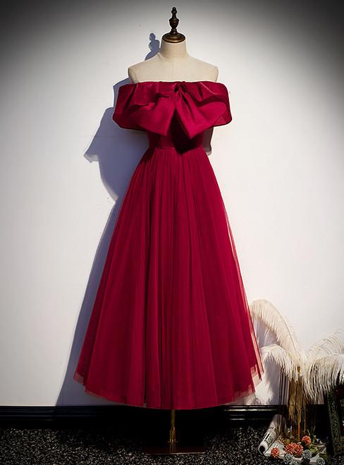 Burgundy Tulle Off the Shoulder Prom Dress