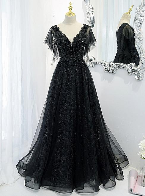 Black Tulle Sequins V-neck Beading Prom Dress