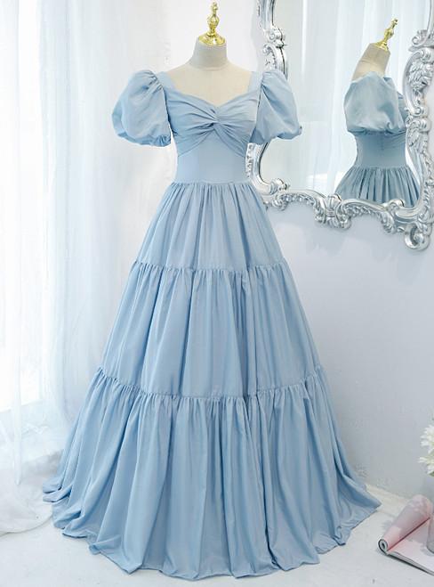 Blue Satin Puff Sleeve Pleats Prom Dress
