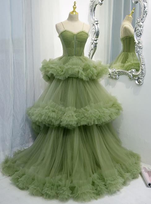 Green Tulle Pleats Spaghetti Straps Prom Dress