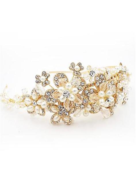 Graceful Alloy Wedding Tiara With Rhinestones & Pearls