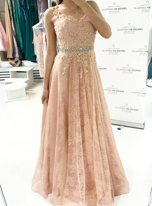 Beaded Waist Lace Evening Dress, A line Long Prom Gown