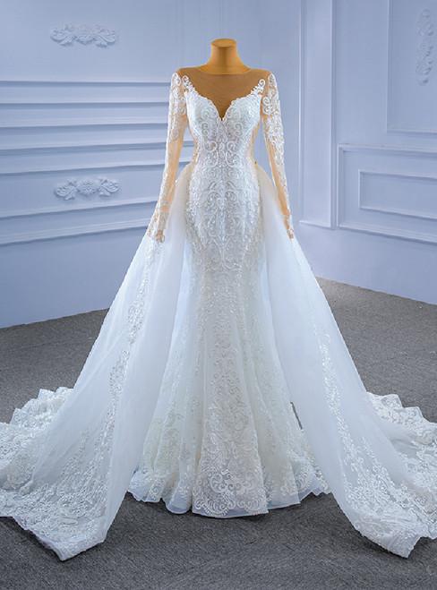 White Mermaid Tulle Long Sleeve Wedding Dress With Detachable Train
