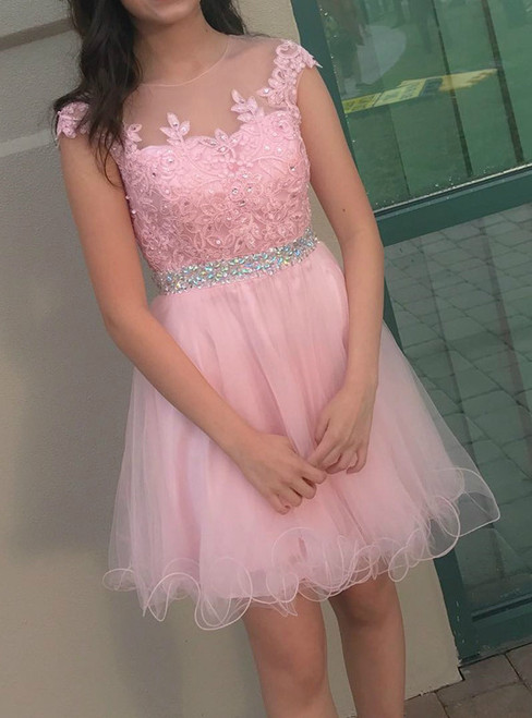 Pink Tulle Junior Homecoming Dress with Crystals and Lace