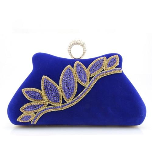 Cheap Elegant Upscale Diamante Leaf Evening Clutch