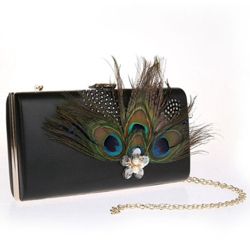 Prom Retro Peacock Feather Adornment Evening Clutch