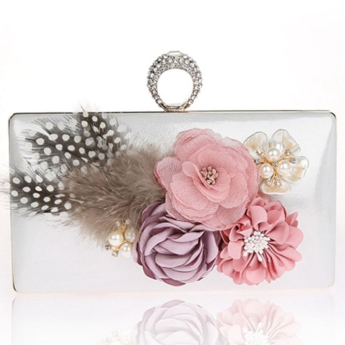 Luxury Charming Feather Flower Design Ring Dinner Clutch