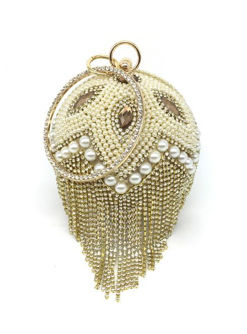 Round Portable Diamond Tassel Party Bag