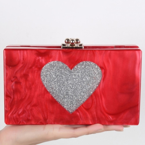 Cheap Red Pearlized Heart Shape Evening Clutch
