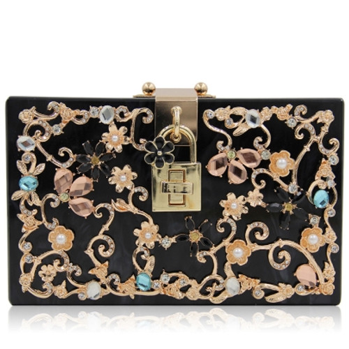 Black Hollow Out Flowers Evening Clutch