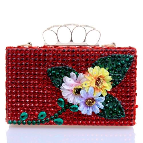 Fashion Shiny Floral Diamond Evening Clutch