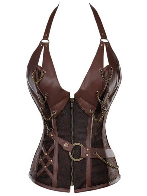 Sexy Vintage Halter Faux Leather Corset