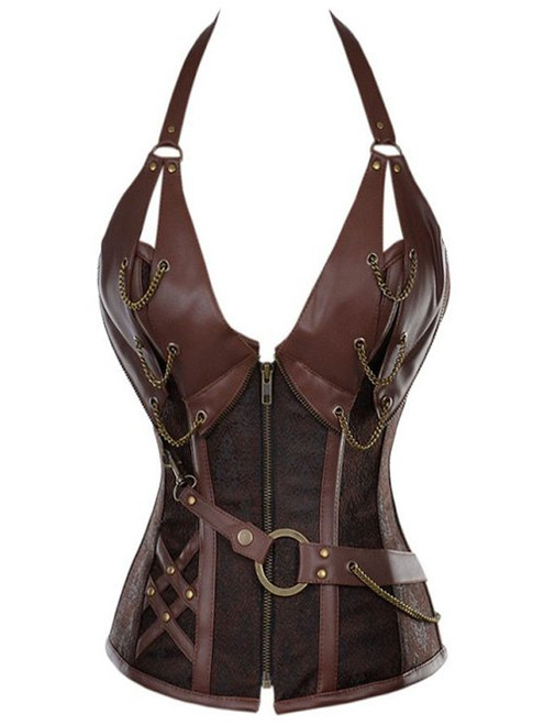 Sexy Vintage Halter Faux Leather Corset