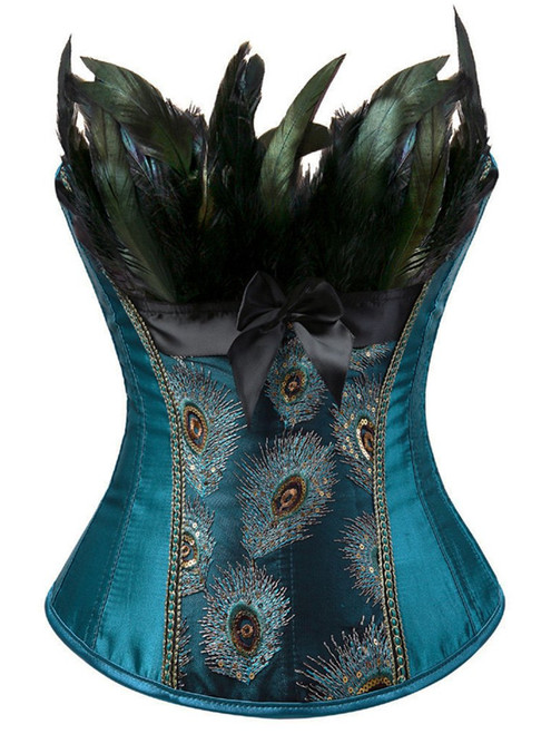 Cheap Feather Sequined Embroidered Corset